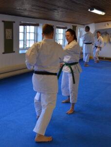 Ellen instrueras av Sensei Johan